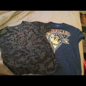 Two men's affliction shirts